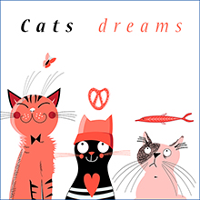 stok vektor Cats dreams1