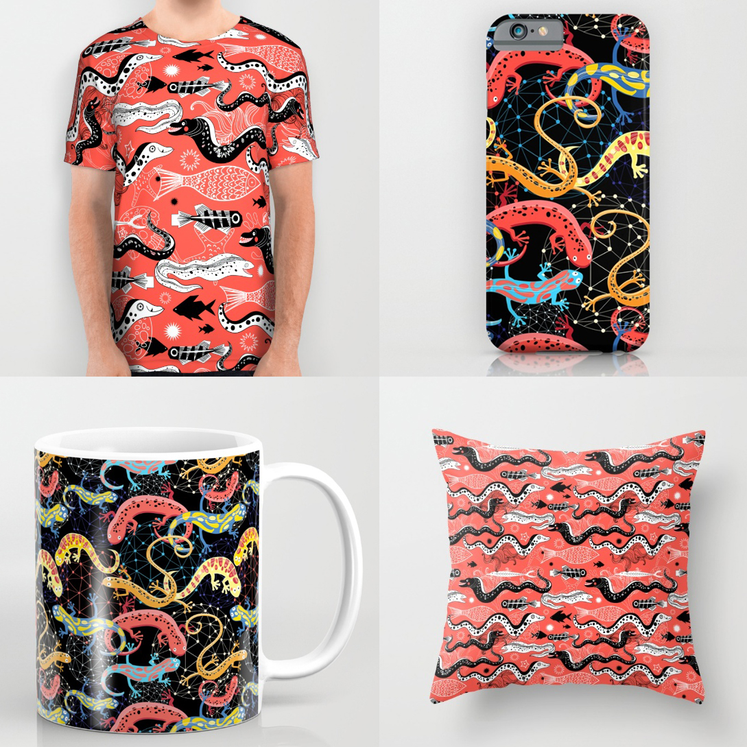 beautiful graphic illustration of the sea snake moray all over print shirts
