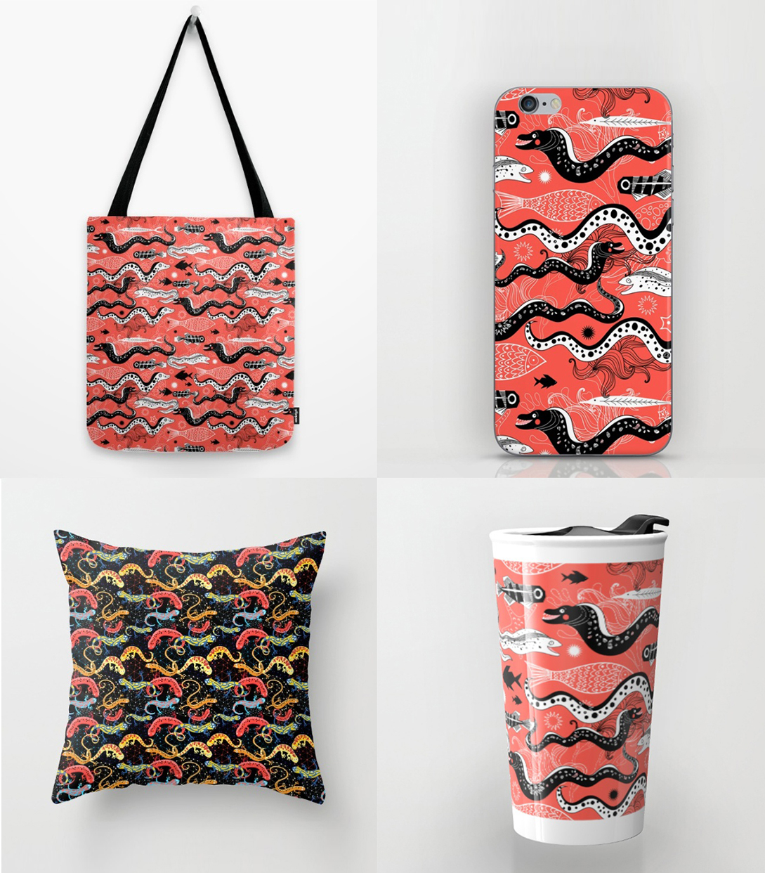 beautiful graphic illustration of the sea snake moray bags